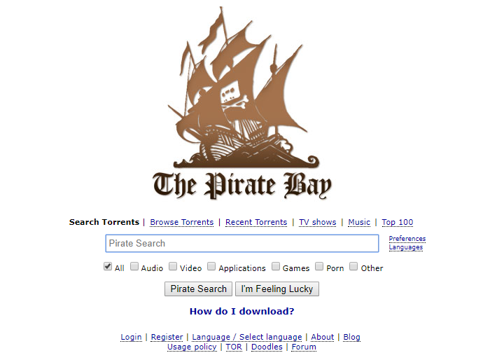 Le site du torrent de Pirate Bay