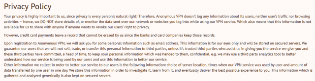 Anonymous VPN Privacy Policy