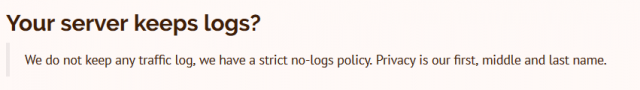 strict no logging policy