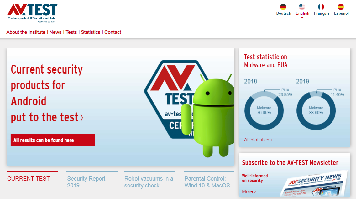 av-test.org homepage