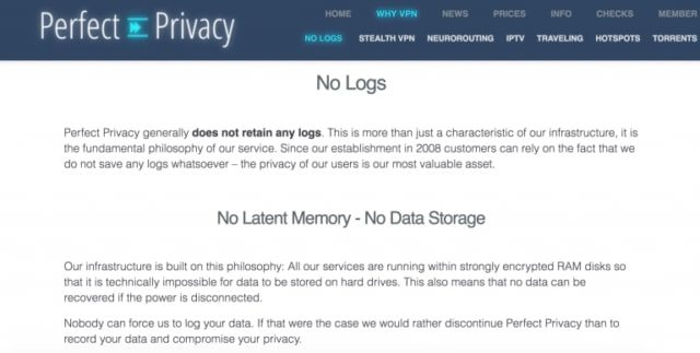 Perfect-Privacy tiada log