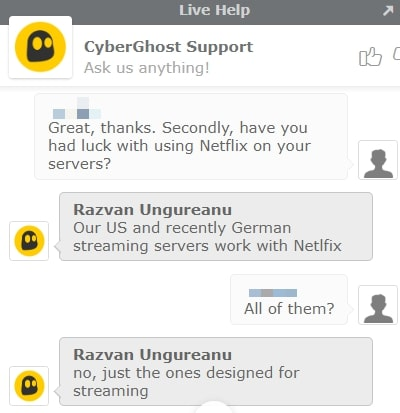 Cyberghost Live Chat på Netflix-streaming