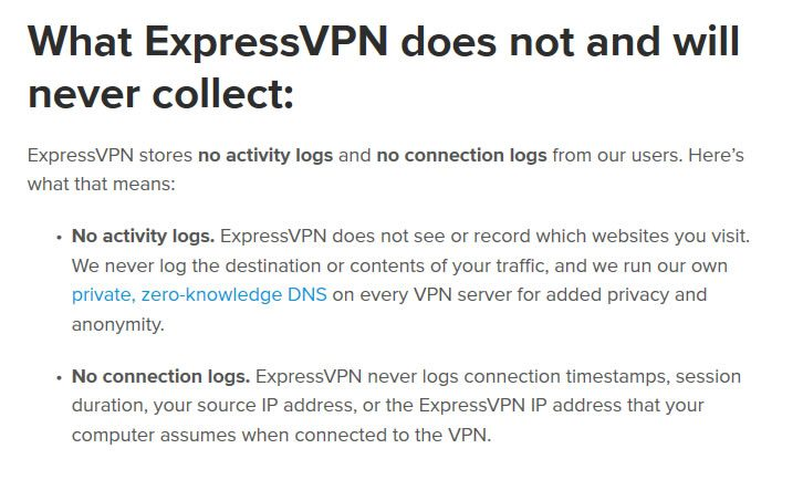 Política de log do ExpressVPN