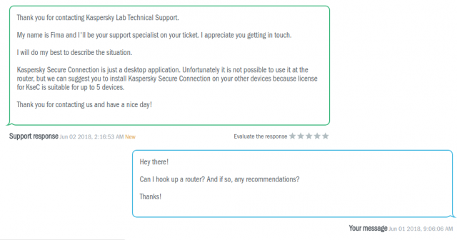 Réponse du support client de Kaspersky Secure Connection