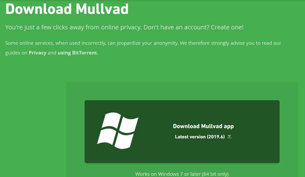 Página de download da VPN Mullvad