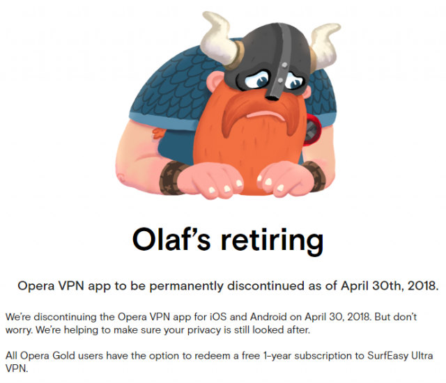Opera VPN-app går i pension