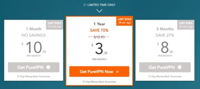 Tarification PureVPN