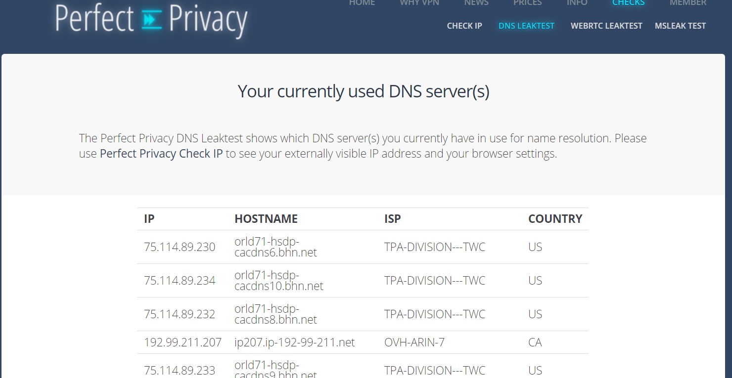 spyoff perfectprivacy dns test netesnosti